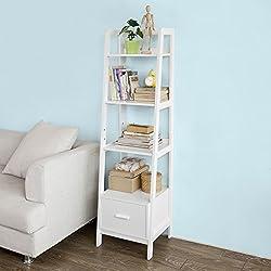 SoBuy® Estanteriá en escalera de madera, Estanterías librerias, Estanterias de diseño, FRG116-K-W, ES