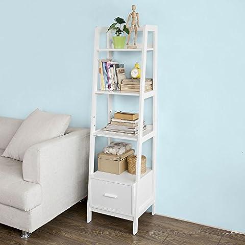 SoBuy® Leiterregal,Bücherregal,Standregal,Badregal,mit Ablagen und Schublade in Weiß, B44cm,