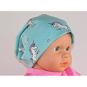 Einhorn Beanie KU.41/43 - Baby Mütze Mitwachsmütze