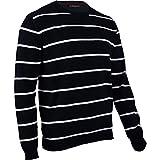 hemmy Fashion Herren Pullover Rundhals gestreift - schwarz - Jet Black/weiß XL