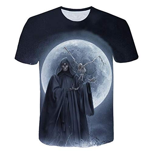 Herren Neuheit T-Shirt 2019 Sommer Casual Kurzarm 3D Digital Gedruckt T Shirt Tops Premium,Neuheit 3D Print Schwarz 5XL -
