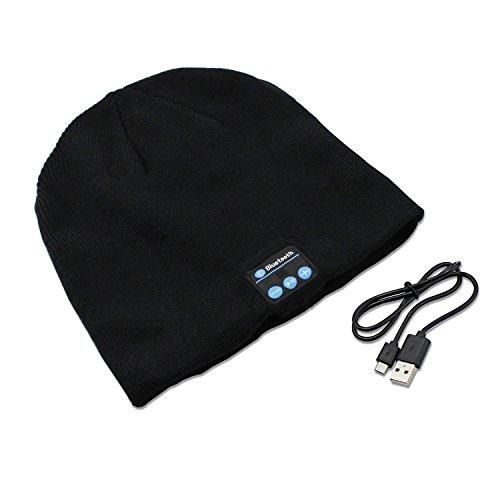 PsmGoods® Bluetooth Musik-weiche warme Beanie mit Stereo-Kopfhörer-Headset Lautsprecher drahtlosen Mic Hands-free für Mann-Frauen-Weihnachtsweihnachts Geschenk Tief Grau (Schwarz) Test