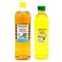 FITLITE Combo Nature Sesame Chekku Oil 1 LTR + Groundnut Wood Chekku Oil 0.5 LTR