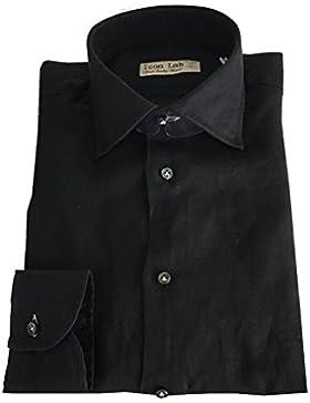 ICON LAB 1961 camicia uomo manica lunga nera 100% lino regular slim asola colorata