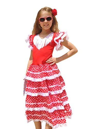 (La Senorita Spanische Flamenco Kleid/Kostüm - für Mädchen/Kinder - Weiß/Rot - Größe 104-110 - Länge 75 cm)