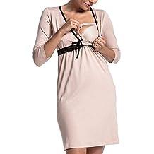 Vestido De Maternidad Moda con Cordones Mini Vestidos Casuales Mujeres Pijamas Lactancia Bebé Ropa De Maternidad