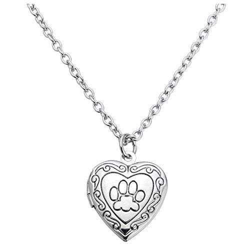 Jovivi donne vintage cuore inciso Paw design foto medaglione ciondolo collana, argento/oro/oro rosa, festa della mamma regali e Rame, colore: Silver, cod. AJUK501011494