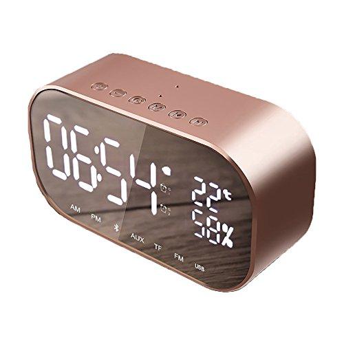 DOUZHE Digital-Wecker u. Drahtloser Bluetooth Lautsprecher Kreativer Kopfbrett-Minilautsprecher, LED, Uhr, Temperaturanzeige, FM