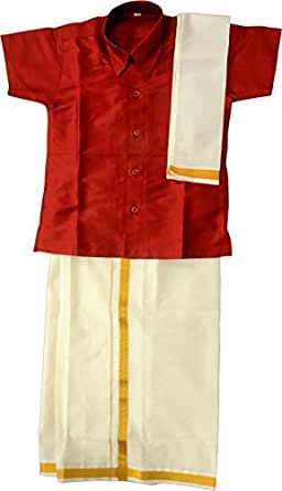 Mysilk Sarees Boys' Cotton Silk Shirt And Velcro Dhoti (My-Tpcmm001_Maroon_2-3 Years) B017BGBS2Y