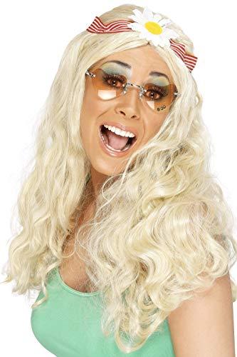 Smiffys, Damen Fetzige Perücke mit Gänseblumen Haarband, One Size, Blond, 42172 (Kostüm Hippie Make-up Für)