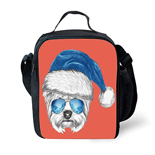 School Supplies Yorkie,Terrier with a Blue Santa Hat and Mirror Aviator Glasses Fun Hand Drawn Animal Decorative,Coral White Blue for Girls or Boys Washable