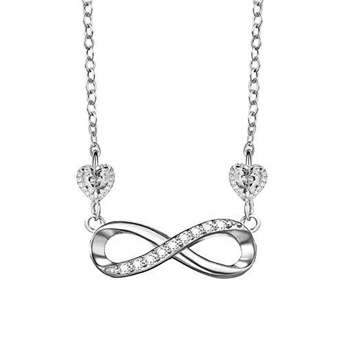 DEPHINI - Infinity Halskette - 925 Sterling Silber - Marken-Anhänger mit Geburtsstein - Fine Jewellery Love - feine Schmuck-Liebe, rhodinierte Silber-Kette - A+ weiße Zirkonia - Geschenke für Frauen