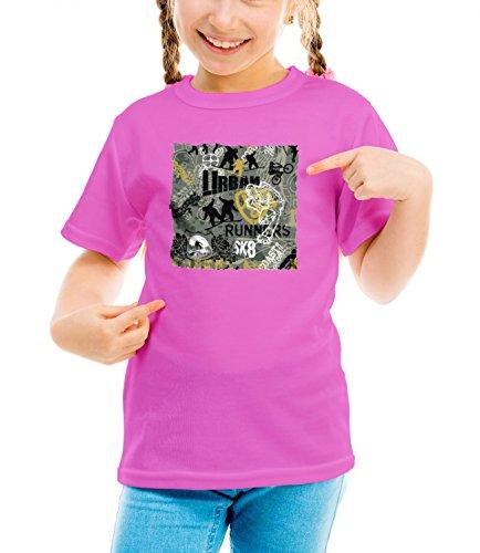 Billion Group | Urban Runners Sk8 | Extreme Sport | Girls Classic Crew Neck T-Shirt Pink Medium