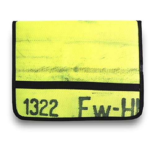Roter Hahn 112 Hochwertige Feuerwehr Schreibmappe Organizer Konferenzmappe aus gebrauchtem Feuerwehrschlauch NEON GELB/NEON LINE
