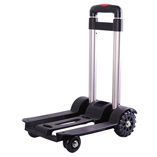 Wagen Aluminiumlegierungs-kleiner Anhänger-Hebel-Auto-Handwagen-Falten-Laufkatzen-LKW Laufkatze-Einkaufswagen-tragbarer Einkaufswagen 4 Runden Gepäck-Wagen-Last ungefähr 30 Kilogramm (Farbe : Black)