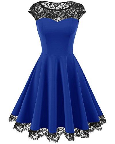 Homrain Damen 1950er Elegant Spitzenkleid Rundhals Knielang Festlich Cocktail Abendkleid Royal Blue...