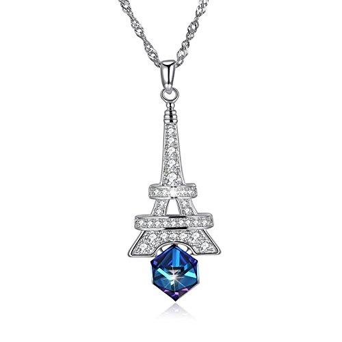 Dolove in argento sterling collane per donne cube crystal from swarovski torre eiffel ciondolo collana blu