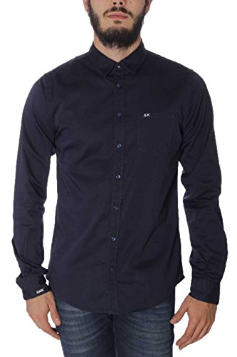 Camicia Uomo Solid Cotton Sun68 SH019 07 Navy Blue, L MainApps