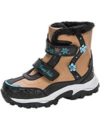 Botas de Nieve para niños 2020 Nuevas Botas de Nieve cálidas de Felpa de Longitud Media de Cuero de Confort para el Invierno Zapatos de caña Alta Antideslizantes duraderos para Exteriores para niños