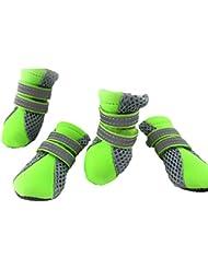 Moolecole Respirable Malla Mascota Zapatos De Interior Equipamiento Para Perros Protector De La Pata Con Velcro Para Pequeñas y Medianas Perros 4-Pack Verde XL