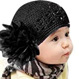 BaZhaHei Baby Flower Cap Toddlers Infant Lace Hair Band Girl Headband Headwear Knitted Hat Crochet Beanie Hats for Cute Kids