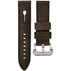 Uhrenarmband StrapJunkie Echtes Leder für Panerai Uhren Dunkelbraun 24mm