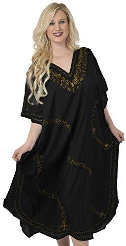 LA LEELA Frauen Damen Rayon Kaftan Tunika Bestickt Kimono freie Größe Lange Maxi Party Kleid für Loungewear Urlaub Nachtwäsche Strand jeden Tag Kleider Schwarz_P270 -