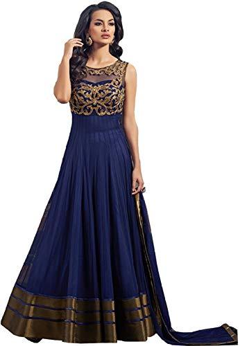 MadhavFashion Net Saree (Gowns_Blue_Free Size)