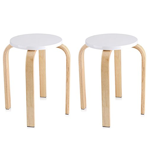 GOTOTOP Lot de 2pcs Tabourets Empilables en Bois Multi-Couleur Hauteur 45cm (2pcs Blancs)