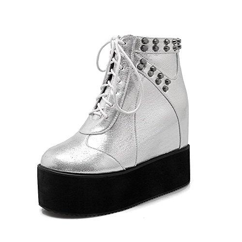 AalarDom Damen Reißverschluss Hoher Absatz Pu Leder Eingelegt Niedrig-Spitze Stiefel Silber