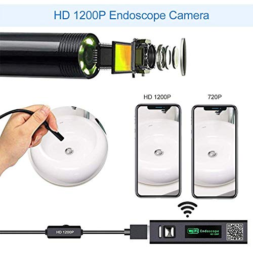 MingBin Endoscopio WiFi,10M Wireless Boroscopio 2.0 megapixel 1200P HD Telecamera endoscopica,IP68 Impermeabile da Plumbing 8 luci a LED per Android /& iOS Smartphone Tablet,Windows