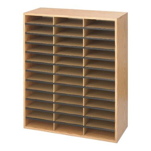 Safco Literatur-Organizer mit 36 Fächern aus Holz/Pappe, mittelhelle Eiche