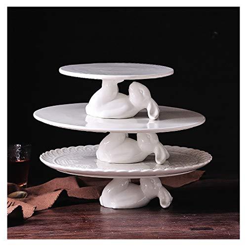 Anicheng 3PCS cerámica Conejo Meng Cake Bandeja de la Torta Rack Bandeja Decoración, Bandeja for Casar Fuentes de la Navidad Cake Shop decoración del hogar