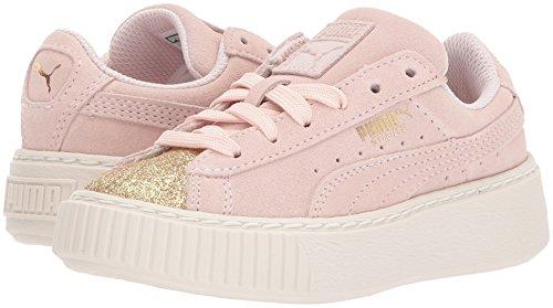 PUMA Kids  Suede Platform Glam Sneaker  Pink Dogwood-Team Gold  12 M US Little Kid
