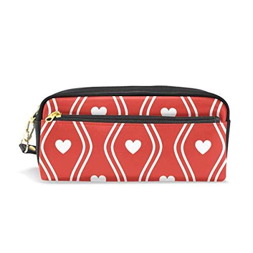 Federmäppchen für Mädchen und Jungen, White Hearts Curve Red-Fledermausstifttasche, Schreibwaren, Make-up-Tasche, große Kapazität, wasserdicht für Frauen - White Heart Handtasche