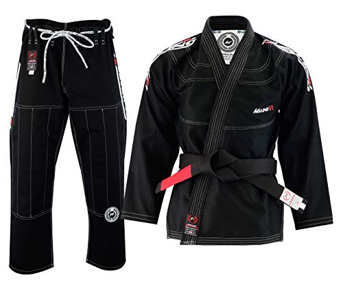 asilianischer Jiu Jitsu Gi Herren Kampfsport Anzug Uniform, Perlen-Webart-Baumwolle 550 GSM, Kurze Hose 10 Unzen Ripstop (A2, schwarz) ()