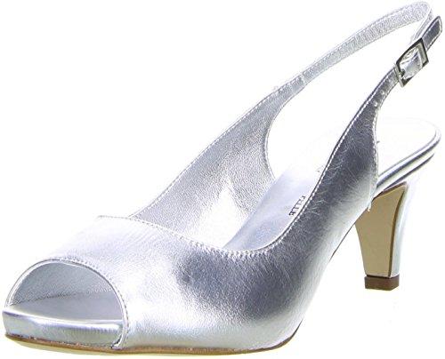 Vista Damen Slingpumps Silber, Größe:37, Farbe:Silber