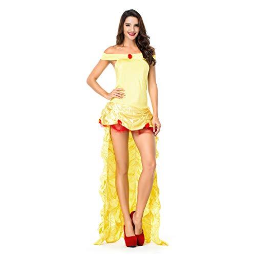 YaXuan Prinzessin/Märchen / Königin Adult Cosplay Kostüm Film Cosplay Gelb Kleid/Halloween / Karneval/Neujahr (Farbe : Gelb, Größe : One Size)