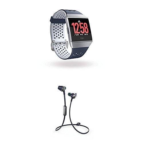 Fitbit Ionic: Adidas Edition, Tintenblau und Eisblau, Onesize + Flyer Kabellose Kopfhörer, Nightfall Blue, Onesize