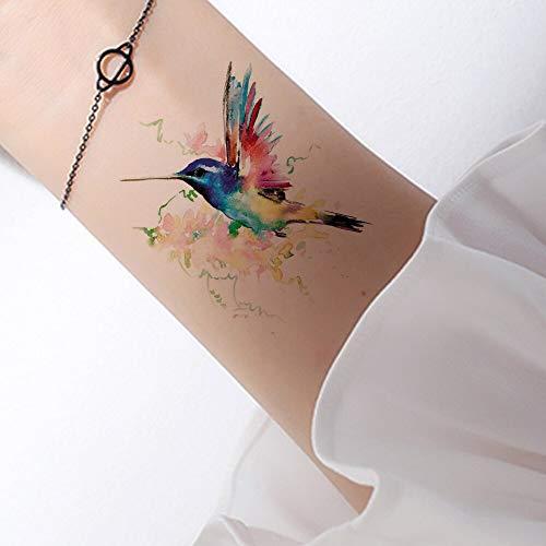 tzxdbh 6 Pirce 3D Aquarell temporäre Tätowierung Vögel Frauen Hände Arm Tattoo Aufkleber Kolibri Mädchen Körper Kosmetik wasserdicht Tatoos