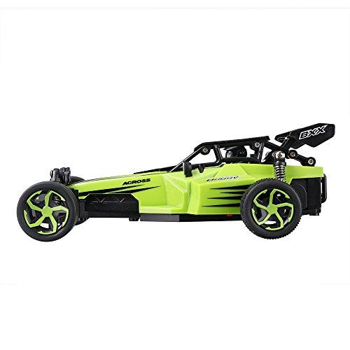 Virhuck 2 x Batería 1:24 Escala RC Coche Control Remoto de Radio 2WD de Alta Velocidad 15KM / H Rápido Bestia con Coche de Carreras Rápido RTR Eléctrico Camión para Niños y Adultos (Verde)
