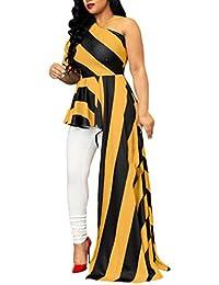 59ea63f931c Robe Longue Femme Chic Automne de Soiree Col Inclinaison de l épaule  dissymétrie Pendule Loisirs Originale Cintrée Vetement…