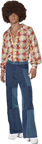 Halloweenoutfit Erwachsene 1970er Disco-Verkleidung Herren Patchwork Jeanslook Gr. M, multi