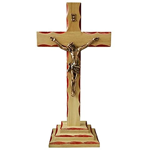 FengMicon Wood Standing Religious Cross with Crucifix