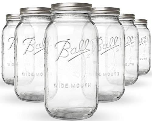 KoRo | Mason Jar | 6er Set | Vorratgläser | 1890ml | 64 oz | Luftdicht Verschließbar | Spülmaschinenfest - Mit Deckel Metall-krug