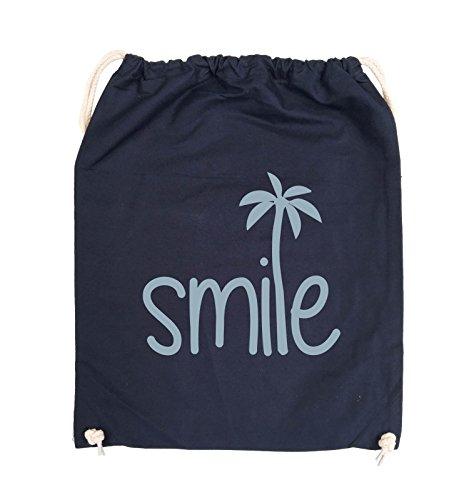 Comedy Bags - smile - PALME - Turnbeutel - 37x46cm - Farbe: Schwarz / Silber Navy / Eisblau