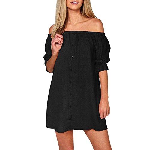 Abito donna,kword donne off spalla pulsante mini abito da sera camicia stomaco uno spalla vestito a-line button (vestito anni 50 nero, s)