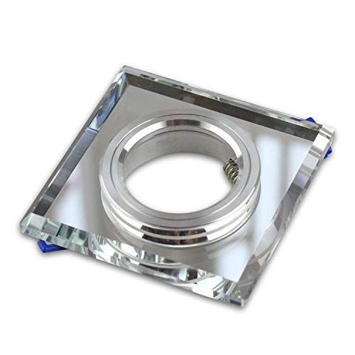 GU10 Einbaurahmen aus Glas 90 mm - geeignet für LED und Halogen-Leuchtmittel - eleganter Look in gläserner Optik mit transparenter Oberfläche, hochwertige Verarbeitung - Rahmen eckig | klar - eckig
