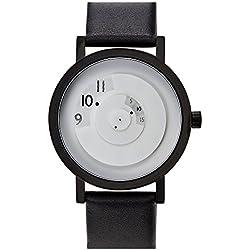 """Projects Watches """"Reveal White"""" Quarz Edelstahl IP Schwarz Weib Leder Unisex Uhr"""