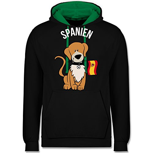 Shirtracer Fußball-Europameisterschaft 2020 - Fußball Spanien Hund - XXL - Schwarz/Grün - JH003 - Kontrast Hoodie
